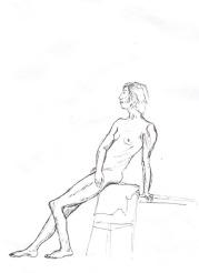 Figure Sitting, 2017, 11.7 x 16.5 in